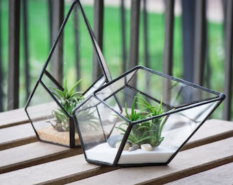 Small Geometric Teardrop Terrarium, Geometric Terrarium, Glass Terrarium, Succulent Terrarium, Airplant Terrarium, Geometric Home Decor