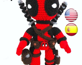 New Deadpool Inspired crochet doll - PDF pattern - English and SPANISH