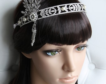 Bridal Tiara Crown, The Great Gatsby Inspired Bridal Crown,  Crystal Tiara, Bridal Pearl Comb Tiara, Bridal Hair Accessories, Bridal Jewelry