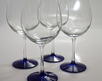 SALE: Hand Painted Red Wine Glasses, Set of 4