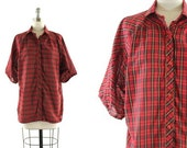 vintage 1980s red plaid blouse / dolman batwing sleeve shirt / collared button down M