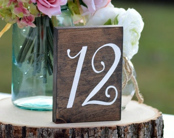 Rustic Wedding Table Numbers, Wooden Table Numbers Self Standing, Boho Wedding Decor, Woodland Wedding Table Centerpiece, Painted (TN101F2)