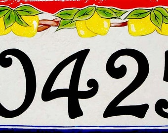 Ceramic lemon house number plaque, Made on strong porcelain tile for all outdoor weather, Italian door address number sign, Address numbers