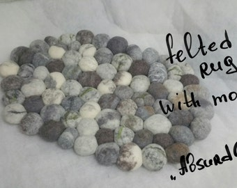 Felted stone rug, felted pebble mat, bath mat, multi-color gray, moss decor, super soft felted stones,  home decor