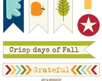 Bella Blvd Hello Autumn Trinkets, Fall-Themed Scrapbook Stickers/Embellishments