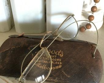 ANTIQUE Wire Rim Half Reading Glasses and Case