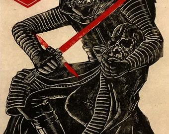 Kylo Ren Linoblock Print