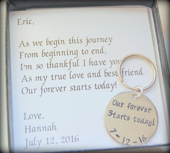 ... , new husband gift, Gift from bride to groom, Custom wedding keychain