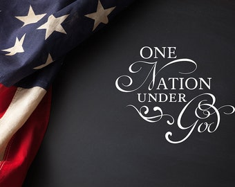 "Patriotic graphic for your church bulletin, newsletter, flyer and other print media, ""One nation under God."""