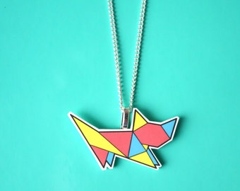 Colourful origami cat necklace, geometric necklace, origami necklace, cute cat necklace, origami jewellery, cat jewellery, girls necklace