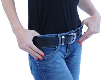 Atitlan Leather Men's and Women's Black Leather Money Travel Belt