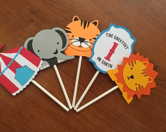 First Birthday Circus Cupcake Toppers