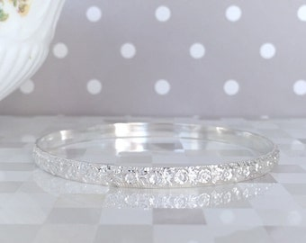 Silver Pansy Bangle | 5MM Solid Silver Bangle | Silver Bangle Bracelet | Flower Bracelet | Floral Silver Bracelet | Silver Pansy Jewelry