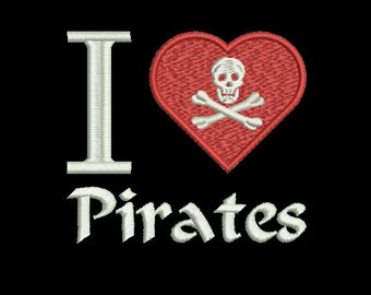 Machine Embroidery Design Instant Download - I Heart Pirates 1