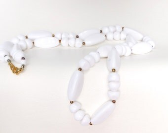 Vintage Long White Beaded Necklace - Gold Tone Clasp