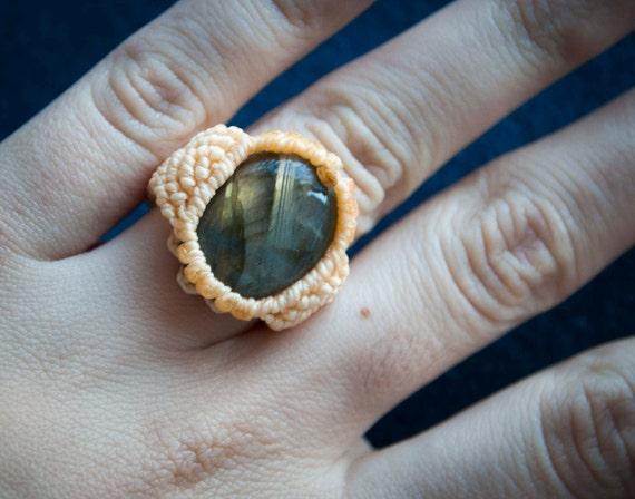 Yellow ring, labradorite ring, hippie ring, ethnic ring, semiprecious labradorite stone ring