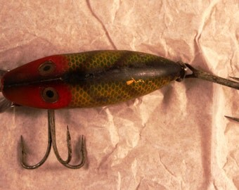 Vintage Heddon Go Deeper River Runt fishing lure/ angling/ fish/ green and black fishing lure/ fisherman/ fishing decor/fishing collectible