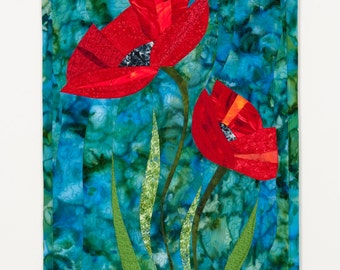 Art Quilt Poppies Two Red on Blue, Quilted Wall Hanging