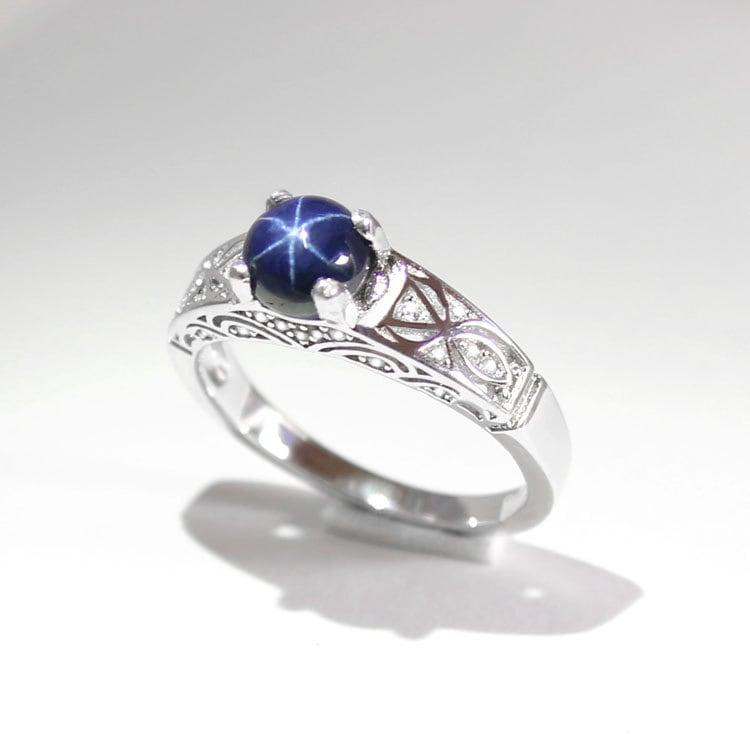 blue star sapphire ring silver genuine blue star sapphire. Black Bedroom Furniture Sets. Home Design Ideas