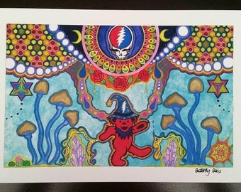 Grateful Dead Dancing Bear Wizard Steal Your Face Visionary Art Print Merkaba Watercolor Painting