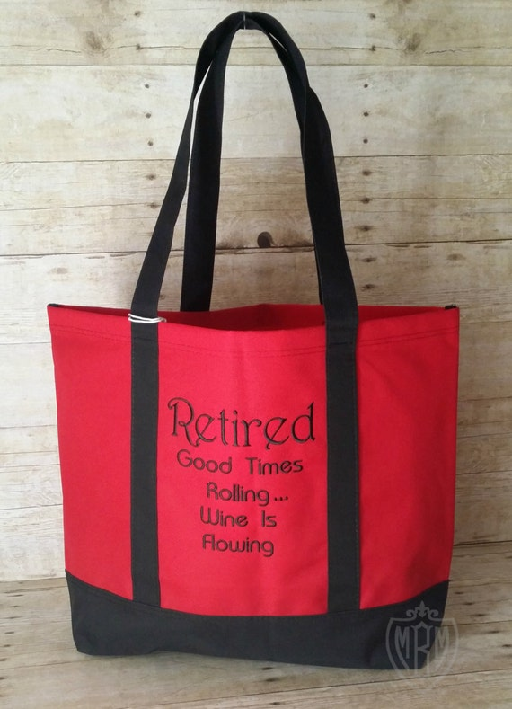 Retirement Gift Retirement Tote Bag Wine By Mabrownmercantile