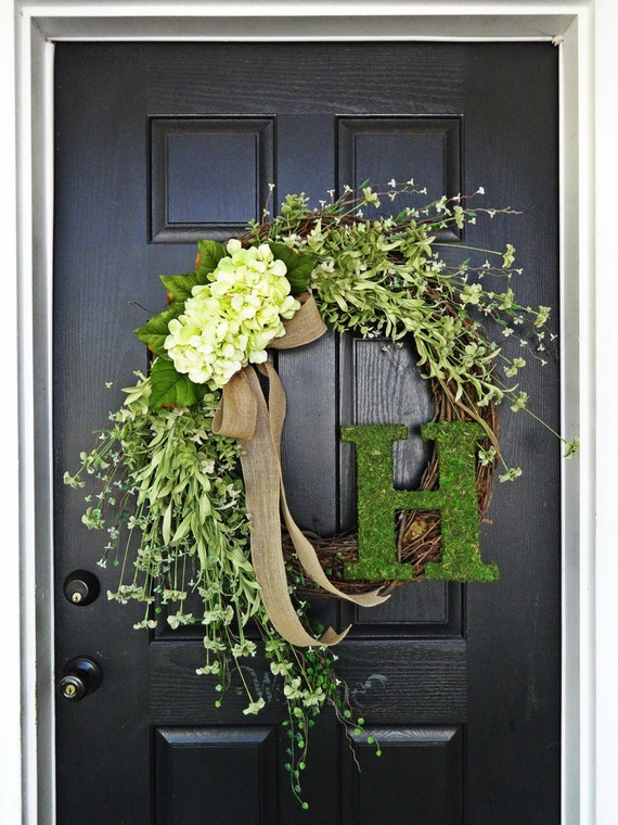 """The Large """"Louisa"""" Wreath :) Intricate Designed Summer Wreath with Green Pallette, French Country Wreath, Moss, Burlap and Hydrangeas"""