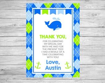 Preppy Whale Birthday Thank You Card Printable - Nautical Birthday Thank You