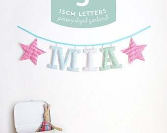 Customized Handmade Fabric Garlands - 3 Large Letter Name