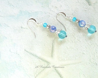 Aqua Beaded Earrings / Sea Glass Earrings / Beach Earrings / Pastel Earrings / Gift for Her Under 20 / CoWorker Gift / Gift for Mom