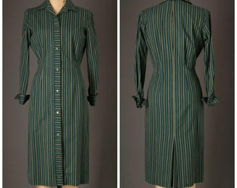 1960s Green Stripe Shirtdress