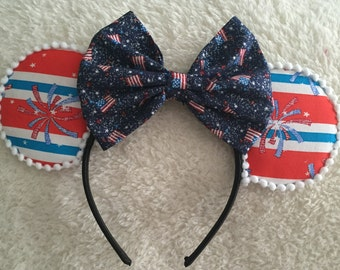 4th of July Minnie Mouse Ears Headband