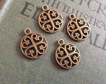 4x Celtic Filigree Pendant Charms, Antique Brass Necklace C329