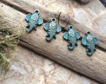 4x Ganesha Patina Elephant Charms, Antique Brass Pendants C389
