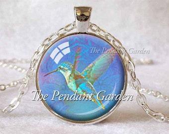 HUMMINGBIRD NECKLACE Hummingbird Pendant Blue Aqua Hummingbird Totem Bird Lover Gift for Bird Lover Hummingbird Jewelry