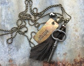 Vintage Skeleton Key Necklace with Stamped Rustic Copper Tag, Dark Brown Silk Sari Ribbon and Faceted Glass Teardrop on Brass Ball Chain