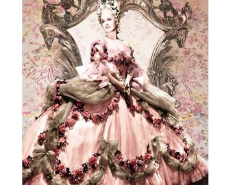 Marie Antoinette, vintage movie star, digital print, Cinderella, photomontage, Art Deco, baroque, fine art print, collectors print, artwork