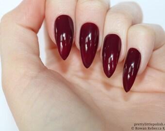 Stiletto nails, Burgundy stiletto nails, Fake nails, Press on nails, False nails, Stiletto false nails, Press on stiletto nails
