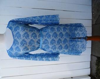 Size M-L, SHEER Blue Lace Knee Length Dress, Bohemian Blue Lace Dress, Bell Sleeves Lace Dress, Hippies Lace Dress
