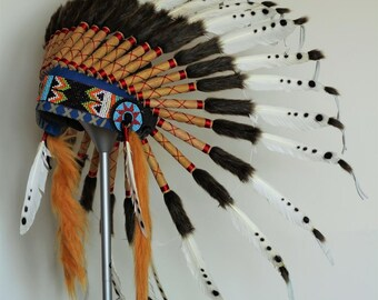 Black and  White  Feather Headdress /  native american  Style Warbonnet.