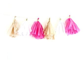 Hot Pink, White & Gold Tassel Garland - Pink tassel garland, tissue fringe banner, cake smash banner, photo banner, tissue tassels