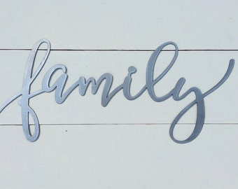 "family metal word sign 18""x8"" gallery wall sign"