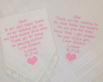 Mom Dad Wedding Gifts Embroidered Personalized Wedding Hankerchiefs Wedding handkerchiefs Wedding gifts for parents Presents Napa Embroidery