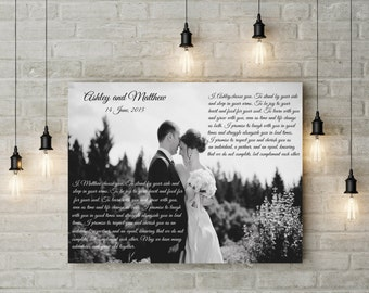 wedding anniversary gift framed wedding vows wedding vow keepsake canvas wedding vow art wedding vows gift for groom gift for bride