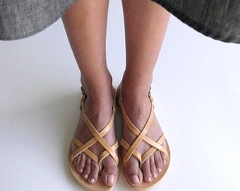 Natural Leather Greek Sandals, Leather sandals, Women's Larnaka leather sandals