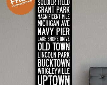 "CHICAGO Wall Art.  20""x60"" Subway Sign - Bus Scroll Canvas Print."