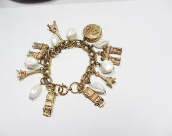 Vintage Charm Bracelet Paris Rome Eiffel Tower Cars Arch De Truimph Round Suitcase Pearl Dangle Costiume Jewelry 8 Inches