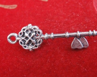 925 sterling silver filigree key with two hearts, silver filigree key, silver small key