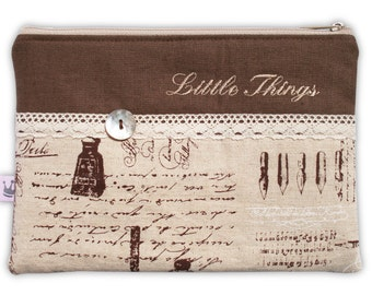 Zipper pouch, cosmetic bag French Script