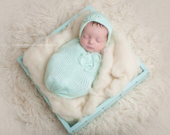 Newborn Swaddle Sack - Newborn Swaddle Set - Newborn Snuggle Sack - Snuggle Sack - Newborn Photo Prop - Mint Hat - Newborn Bonnet Set