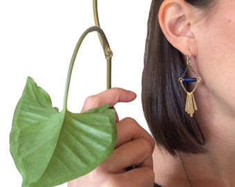 ZEBRINA EARRINGS - Golden Fringe Earrings with Lapis and Hammered Details